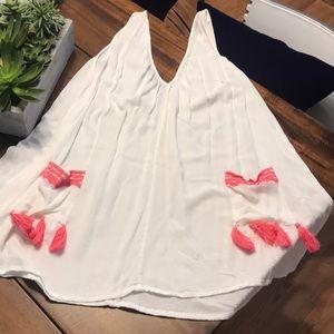 WHITE & PINK TASSEL V NECK DRESS / COVERUP